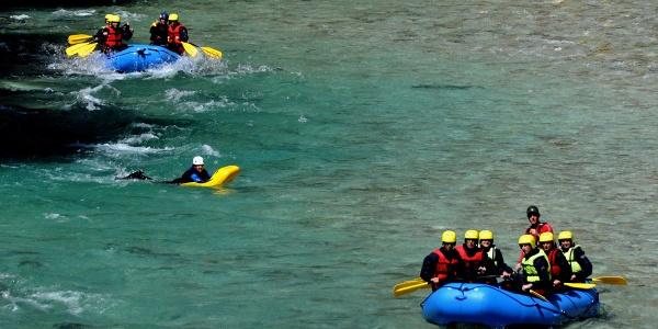 Sometimes you are joined by kayakers or hydrospeed swimmers
