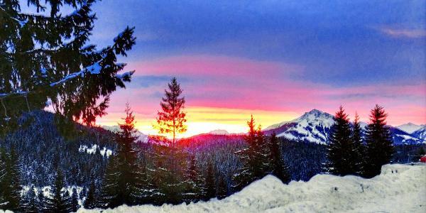 Sonnenaufgang in der Früh bei der Wochenbrunneralm