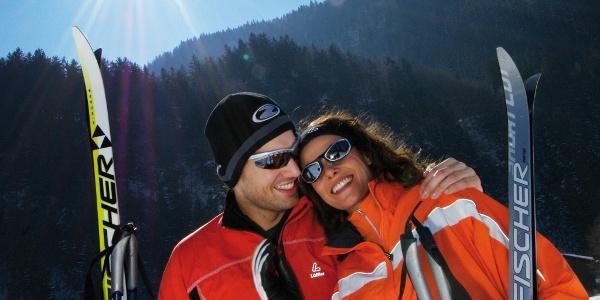 Langlaufpaar im Gantschierer Feld
