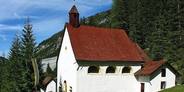 The idyllic spring sanctuary Heilige drei Brunnen (Holy Three Wells) below the Ortler