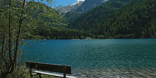 On the lake Anterselva - Antholzer See, crystal clear water and fresh mountain air