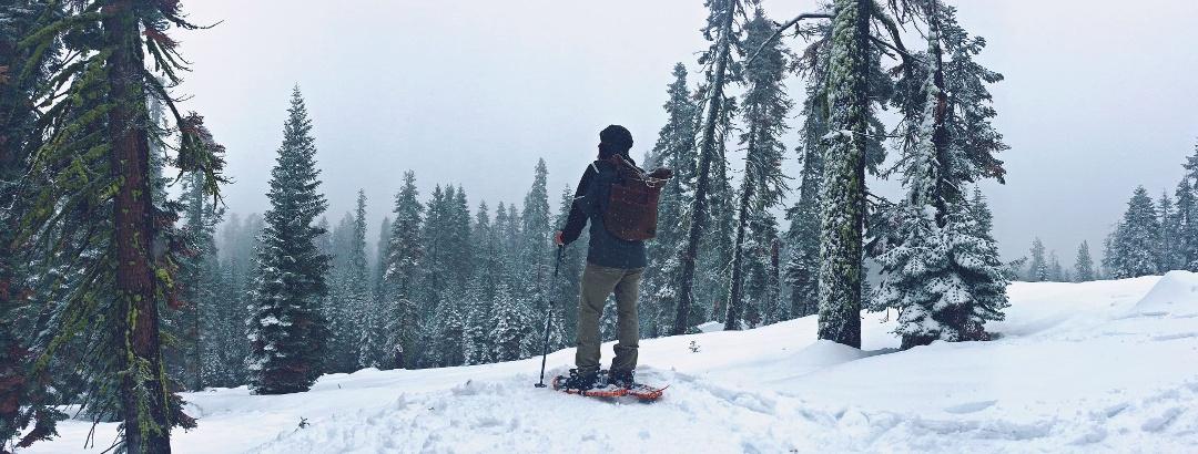 Schneeschuhwandern in der unberührten winterlichen Bergwelt
