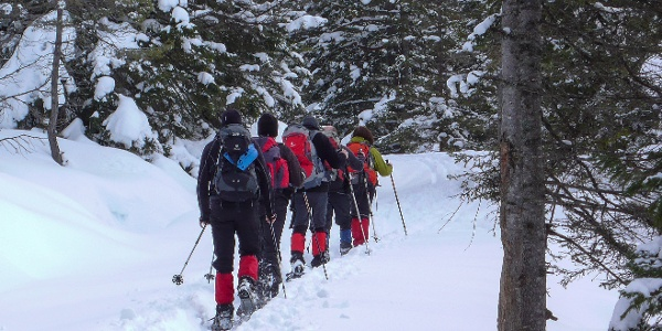 Schneeschuhwanderer unterwegs