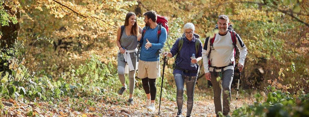 Wandergruppe im Herbstwald