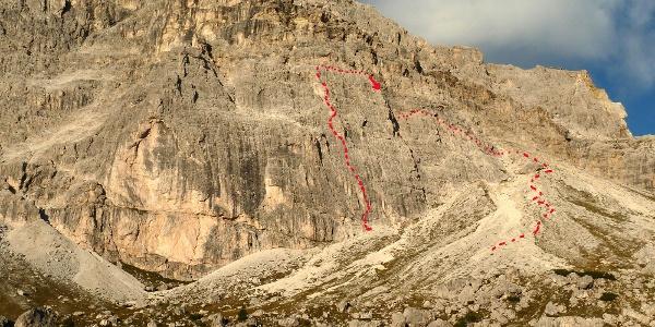 Routenverlauf Mittler und Pfeilerweg, sowie der Abstieg