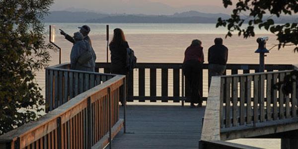 Besucher genießen den Ausblick auf der Plattform.