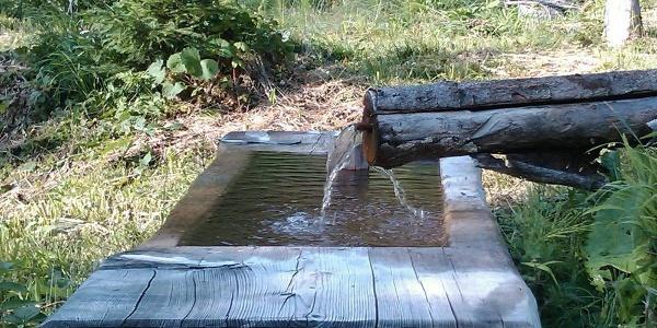"""Das """"gefasste"""" Heilwasser im Brunnen beim Jenazer Bad"""