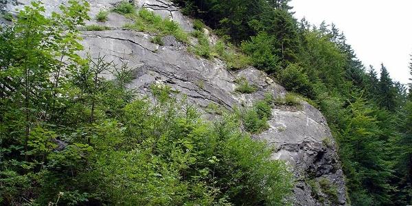Die Einstiegswand am Klammgrabensteig/Raiffeisen-Klettersteig