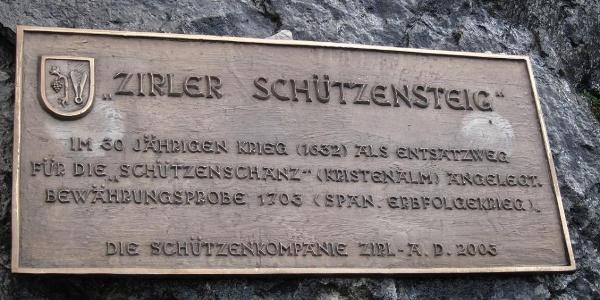 Tafel mit der Geschichte des Steigs
