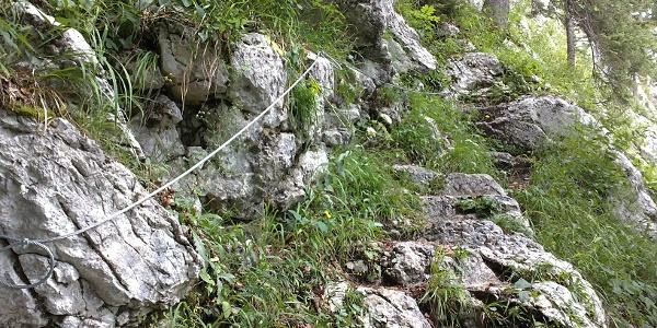 Teilweise gibt es am Naglsteig Seilsicherungen und in den Fels gehauene Stufen.