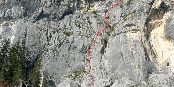 Brilli Übersicht - rot Routenverlauf - gelb 4x25m Abseilen