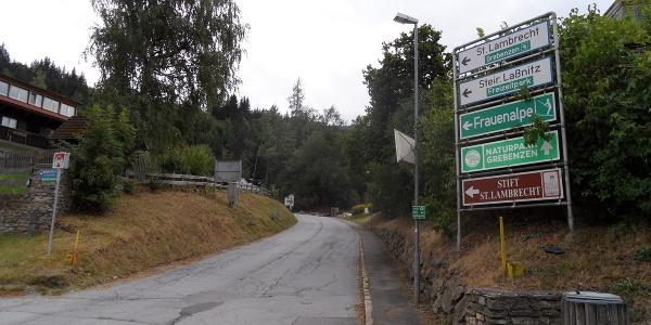 Straße zur Frauenalpe und Murauer Hütte