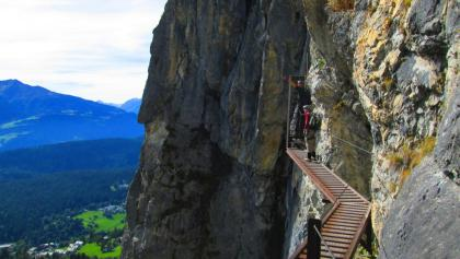 Querung am Pinut-Klettersteig
