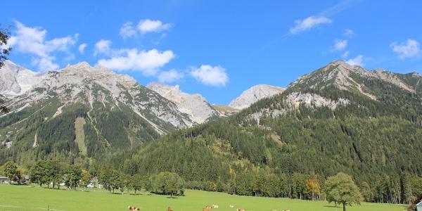 Die Hütte ist vom Tal schon zu sehen