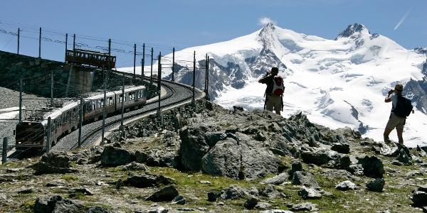 Ride on the Gornergrat Bahn cog railway to the start of the hike