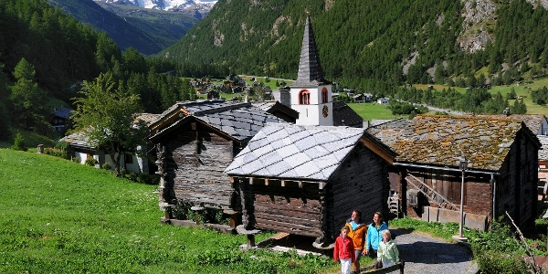 Walk in Randa with view of the Klein Matterhorn (3,883 m) and Breithorn (4,164 m)