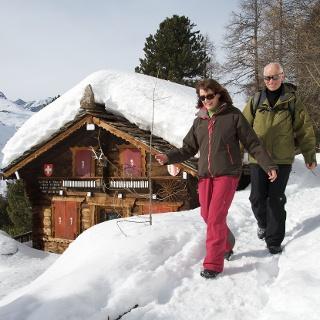 Winter hiking trail below Riffelalp