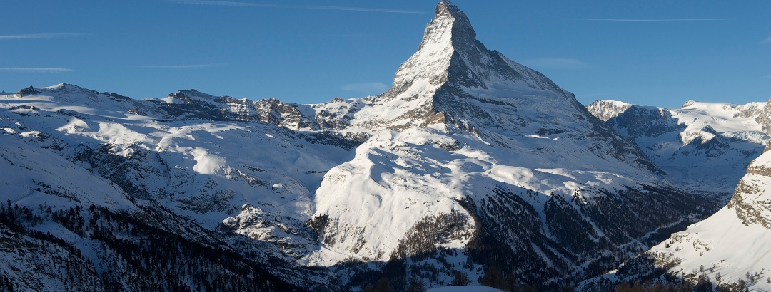 View from Sunnegga of the surrounding mountains with the Matterhorn (4,478 m)