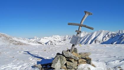 Das originelle Gipfelkreuz am Lahneck