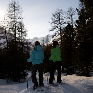 Snowshoe hiking with a winter panorama