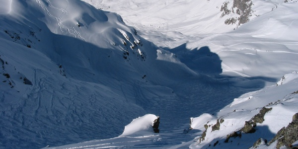 Riedchopf 2552m steiles Culoir hinuntern nach Partnun