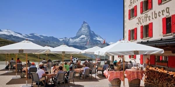 Sun terrace of the Hotel Riffelhaus 1853 with view of the Matterhorn