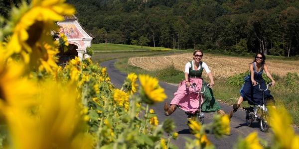 Rad fahren entlang blühender Gärten